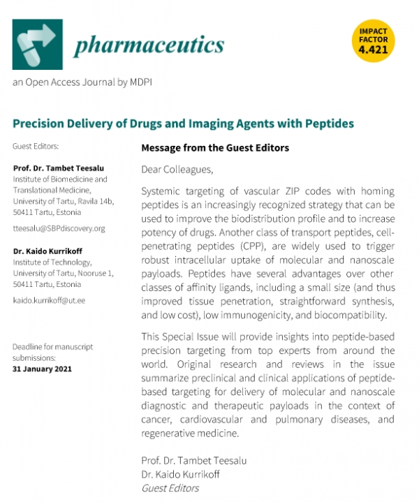 "Special issue of Pharmaceutics: ""Precision Delivery of Drugs and Imaging Agents with Peptides"""